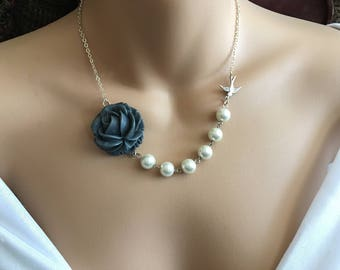 SALE Grey Rose Flower Necklace In Silver-Pearl Necklace,Cabochon Necklace,Flower Necklace,Bird Necklace,Pearl Jewelry,Bird Jewelry