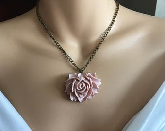 SALE Pink Rose Necklace, Cabochon Necklace, Antique Bronze Necklace,Pink Necklace,Statement Necklace