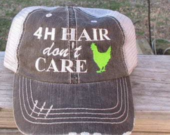 4H Hair don't Care  Embroiderd Hat