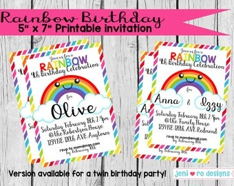 Rainbow Birthday - Printable Invitation - Personalized for one or two kids!