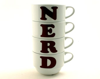 4  Letter Nerd Stacking Stackable Cups Porcelain Coffee Espresso Tea Gag Gift 2 Variations Sizes Funny Fun Present Gift