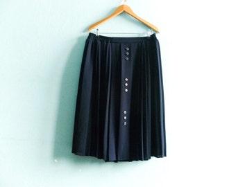 Vintage Pleated Skirt Navy Blue / High Waisted / Preppy Retro Secretary Classic / Midi / medium large