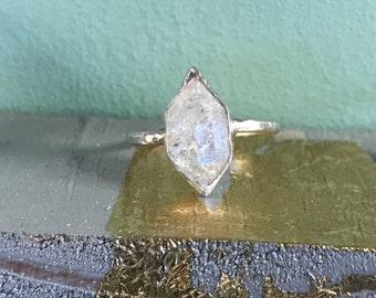 Silver Framed Herkimer Diamond Ring