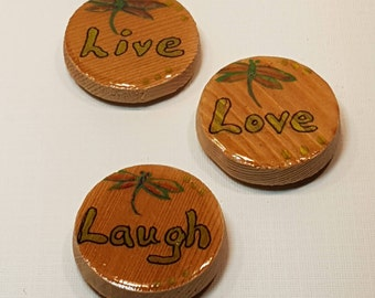 FRIDGE MAGNET SET of 3 - Motivational Word - Wooden - Thought Words - Painted Dragonfly - Live, Love, Laugh - Special Gift for Loved One
