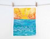 You Are My Sunshine Wall Art - Beach Decor - Colorful Surf Print
