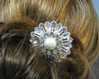 Clear Crystal and  Rhinestone  Hair Comb Accessory Bridal Wedding Jewelry