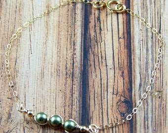 Christmas Sale Peas In A Pod, Peas In A Pod Bracelet, Petite peas in a pod Bracelet, Layering Bracelet, Gold Filled, Select up to 5 peas