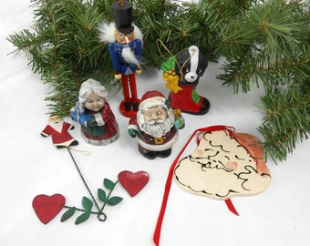 Vintage folk art hand painted ornaments metal art hand painted Christmas ornaments santa toy soldier metal santa