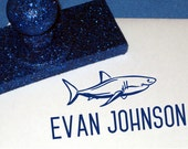 Shark Gift for Little Boys, Personalized Name Stamp, Royal Blue, Kids Shark Rubber Stamp Great White Ocean Animal, Book Plate, Property of