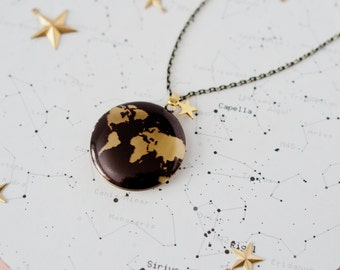 World Map Locket, Travel Necklace, Traveller Gift, Globe Locket, Atlas Necklace, Black and Gold Charm Necklace, Adventure Necklace