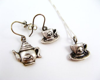 Tea Party Jewelry Set - Tea Pot and Tea Cups, Necklace and Earrings - Fine Silver