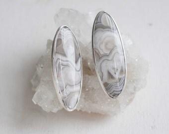 Oval Agate Earrings   Custom Agate Earrings   Sterling Silver