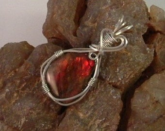 Bright Gem Red Ammolite from Utah Deposit Wire Wrapped Pendant Using Argentium Sterling Silver Wire  Pendant 564