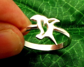 Silver Penguin Jumping Stacking Ring - Penguin Jewelry - Bird Jewelry