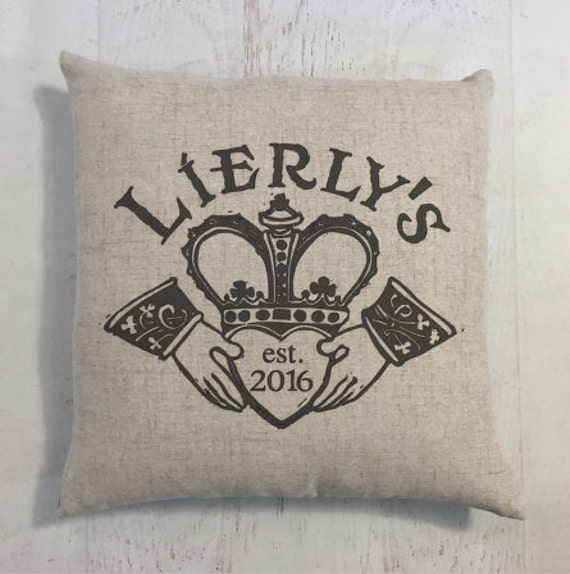 Irish Claddagh Wedding Ring Heart Custom Last Name Linen Style Pillow Wedding or Anniversary Gift
