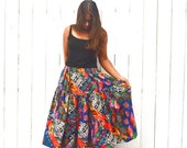 Southwest Circle Skirt Early 90s Bright Multicolored Print Vintage Skirt Small Medium Large