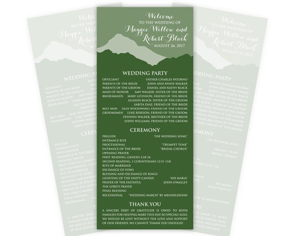 Mountain Wedding Programs or Menus, Tea Length, Custom Printed, 20 Pieces Per Order