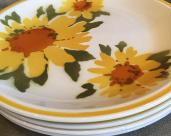 Mikasa Flora D1354 Dinner Plates Vintage Cera-Stone Japan Sunflower - #A2107