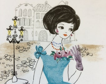 Vintage Lady In Blue Tile Hand Painted Enesco Japan Hanging Wall Plaque - #D2365
