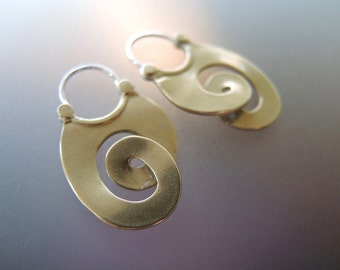 Bronze Long Curl Hoop Earrings with sterling wires