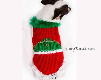Christmas Tree Chihuahua Sweater, Christmas Fur Feather Dog Clothes with D Ring, Knitted Christmas Pet Sweater DF4 Myknitt - Free Shipping