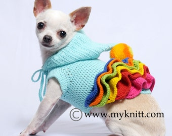 Small Dog Clothes, Crocheted Dog Dress, Colorful Dog Hoodie, Cute Chihuahua Clothes, Dachshund Clothes DF55 by Myknitt - Free Shipping