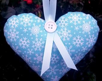 Christmas heart decoration, Holiday ornament, holiday decoration, Christmas ornament, Christmas decoration, cute heart, blue heart