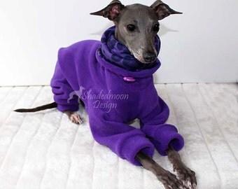 Made to order SHADEDMOON DESIGN - Italian Greyhound  - Purple Jammies with purple leopard lined Snood/Neck Warmer