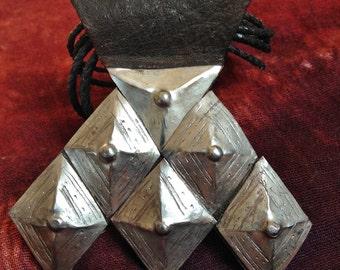 Tuareg Amulet Khomissar/ Khomeissa Hamza on Leather, with Leather Cords