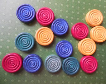 Set of 15 Multicolor Wooden Game Piece Discs, Vintage Wooden Game Pieces, Vintage Supply, Grooved Wooden Discs, Vintage Game Tokens