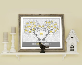 Large Family Tree, Personalized Genealogy Tree for Parents, Grandparent Gift, Gift for Mom, Love Bird Family, Gray and Yellow