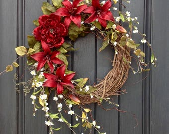Spring Wreath-Summer Wreath-Floral White Branches-Grapevine Door Wreath Decor-Red Lilies-Red Peony-Mothers Day-Indoor/Outdoor-Artificial