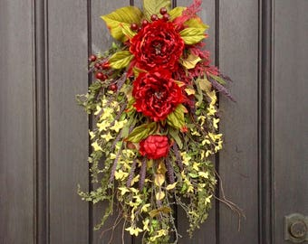 Summer Wreath-Fall Wreath-Gift-Wispy Twig Teardrop Vertical Swag-Door Decor-Use All Year Round-Floral Swag-Red Peony-Purple-Yellow