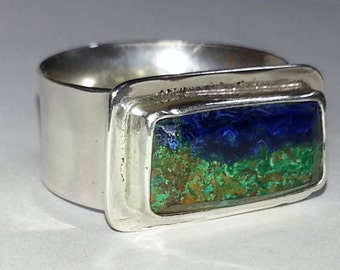Size #9 Azurite Malachite Sterling Silver Ring