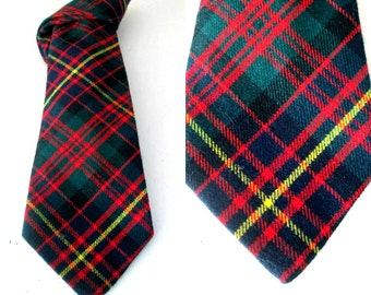 Scottish Wool Plaid Clan Necktie Cameron Erracht Vintage Tie