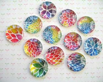 Paint Color Round Glass Magnet, Fridge Magnet, Round