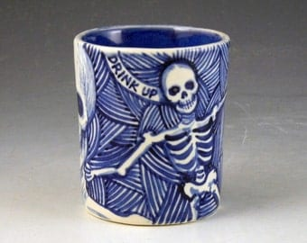 Blue and white day of the dead OOAK porcelain skull cup