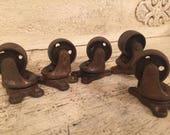 5 Vintage Industrial Caster Wheels - Metal Casters - Set 5