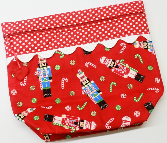 Big Bottom Bag Red Nutcrackers  Cross Stitch, Sewing, Embroidery Project Bag