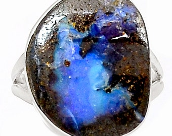 Iridescent Australia Boulder Opal! Solid Silver Ring. Size 7 1/2 - 8.