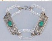 SALE STUNNING Authentic 1920s Filigree and Carved Glass Link Bracelet,UNIQUE Style Filigree Czech Bracelet,Delicate Filigree Tennis,Jade Gre