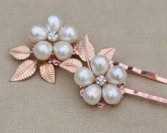 NEW Rose Gold Vintage Jeweled Pearl Bobby Pins,Pair Bobby Pins,Rose Gold Hair Pins,Vintage Pearl Earring,Bridal Weddings Bride,Something Old