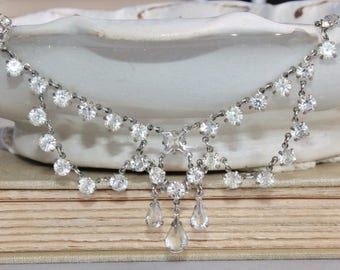 WOW Vintage Czech Open Back Crystal Rhinestone Tennis Necklace & Earrings,Clear Crystal Demi Parure,Silver,1920s Art Deco Laveliere,Bridal