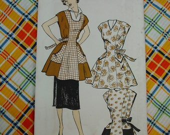 Vintage Pattern c.1950's New York Apron Coverall,  Size Large  Uncut