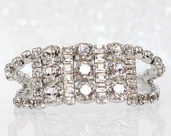 Bridal Bracelet, Rhinestone Bracelet, White Crystal Wedding Bracelet, Swarovski Crystal Bracelet,Bridal Jewelry, Bridesmaids White Bracelet,