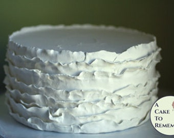 """8"""" round faux cake, ruffled icing fake cake for photo shoots and home staging. Wedding cake topper display, food prop or theatrical prop"""