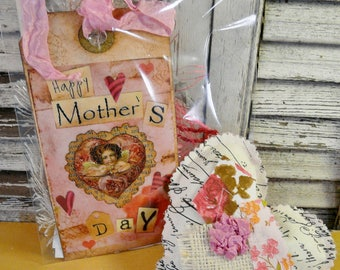 Mother's day goodies - tags papers embellishments Lavender sachet