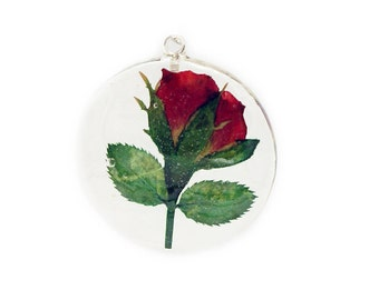 Rose Pendant - Real Flower Jewelry - Red Flower Pendant - Necklace Charm - Flower Jewelry - Green Pendant