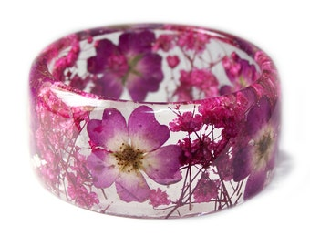 Pink Flower Bracelet -Jewelry with Real Flowers- Dried Flowers- Pink Bracelet - Pink Dried Flowers- Pink Bracelet- Resin Jewelry