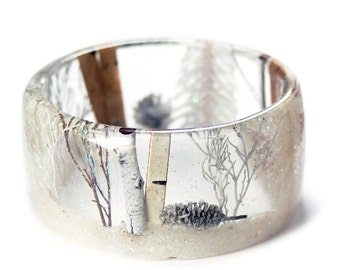 Winter Forest Bracelet -Winter Jewelry-  Flower Jewelry - resin jewelry-  white Jewelry- Brown Bracelet- Forest Jewelry- Fairy Jewelry